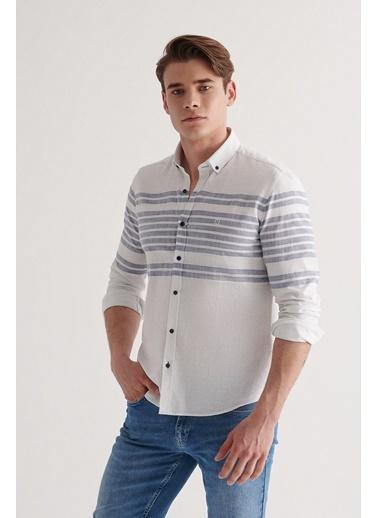 Avva Erkek Enine Çizgili Düğmeli Yaka Slim Fit Gömlek A11Y2193 Mavi